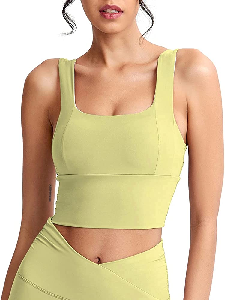 Loovoo Women Padded Sports Bra Longline Crop Fitness Workout Running Shirts Yoga Tank Top