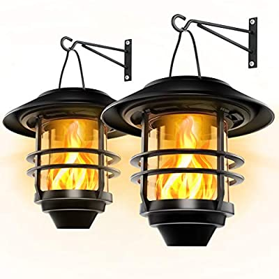 Otdair Security Solar Wall Lantern Lights Outdoor - Flickering Flames Solar Decorative Hanging Glass Light Fixture Wall Mount with No Wiring Required. Dusk to Dawn Auto On/Off(2-Pack)