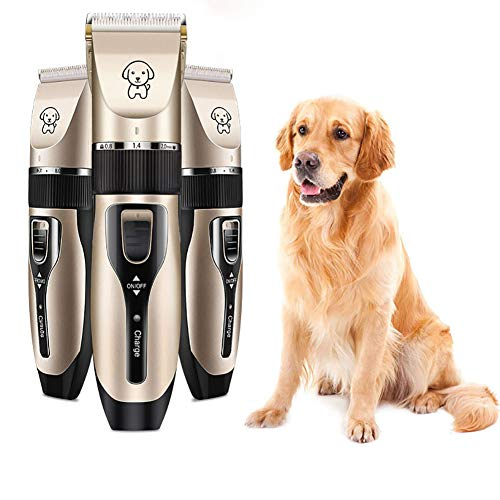 YWJH Tierhaarschneider Kit, Tierschermaschine, Geräuscharmer Haarschneidemaschine, professionelles Kammscheren, Schnurlos für Katze, Hund, Haustier