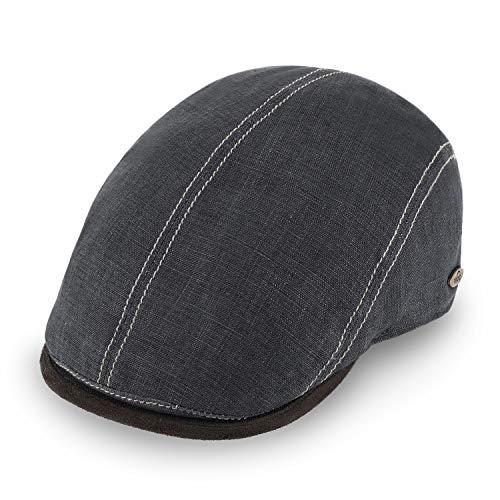 Fiebig fiebig Brighton Flatcap aus Leinen | Schirmmütze mit Baumwollfutter | Schiebermütze mit Kontrastnähten | Made in Italy (60-XL, anthrazit)