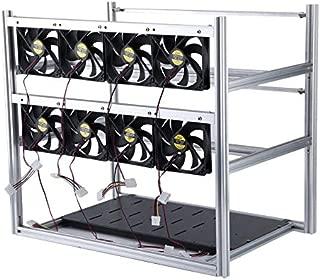 Eduton Stackable Design Aluminum Bracket Open Air Mining Frame Portable 12 GPU Mining Rig Case Universal Miner Rig Shelf(Silver & with 8 Fans)