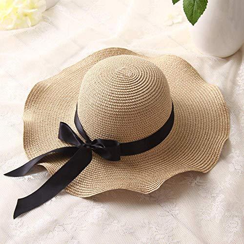 aqeror Sombreros de Paja de ala Grande para Mujer Verano Playa Protector Solar Plegable Sombrero para el Sol Versión Coreana Gorra de Arco Gorro de Espiga Wave Edge