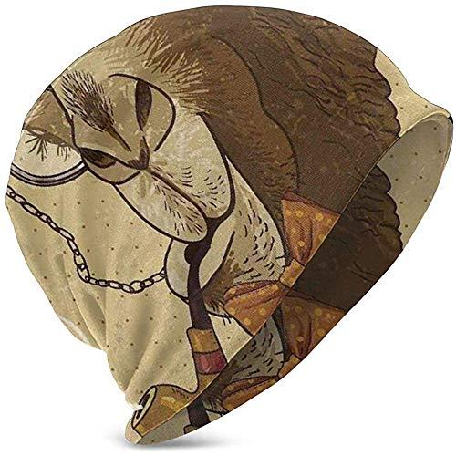 Not Applicable Children Skull Hat,Hipster Camel con Pipe Monocle Vintage Beanie Beanie Hat para Viajes Deportivos Al...
