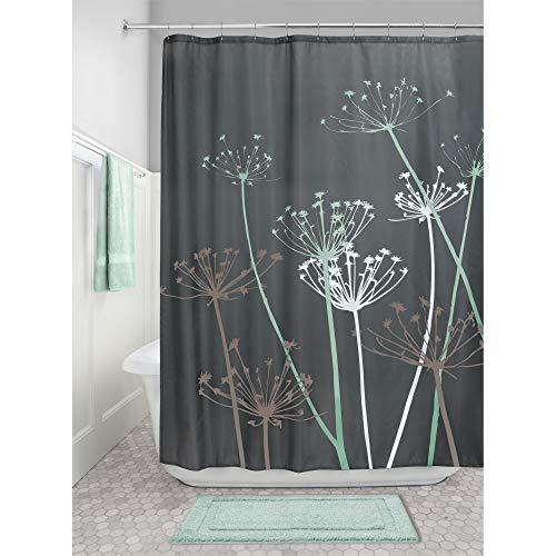 iDesign Thistle Duschvorhang | 183,0 cm x 183,0 cm großer Badewannenvorhang | waschbarer Duschvorhang aus weichem Stoff | mit Blumen-Motiv | Polyester grau/mint
