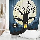 NK Phoenix Halloween Toter Baum Duschvorhang, Wasserdicht Badezimmer Shower Curtains Haken für Halloween-Dekoration, Haushalt Halloween Festival Party Dekoration(180*180cm