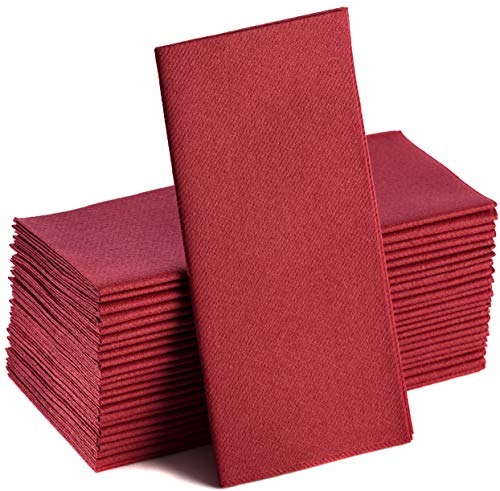 Burgundy Napkins | Linen Feel Guest Disposable Cloth Like Paper Dinner Napkins | Hand Towels | Soft  Absorbent  Paper Hand Napkins for Kitchen  Bathroom  Parties  Weddings  Dinners Or Events | 50 Pack