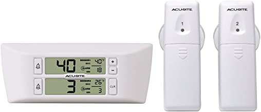 AcuRite 00986 Refrigerator Thermometer with 2 Wireless Temperature Sensors & Customizable Alarms for Fridge & Freezer, Standard