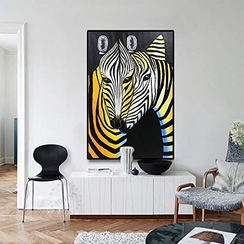 LPaWD Moderne Nordic Abstracte Posters en Prints Zebra Goud en Zwart Art Canvas Schilderij Muur Woonkamer Woondecoratie A2 60x80cm