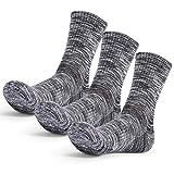 3 Pares Calcetines Mujer Hombre Senderismo Calcetines para Trekking Transpirable, Alto Rendimiento,Térmicos, Transpirables, Acolchados y Antiampollas, Calcetines de Montaña (3 Pares Negro)