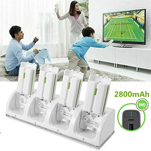 SANON 4 in 1 Wii Dock di Ricarica Controller Gamepad 4 in 1 con 4 Batterie Ricaricabili E Indicatori a LED