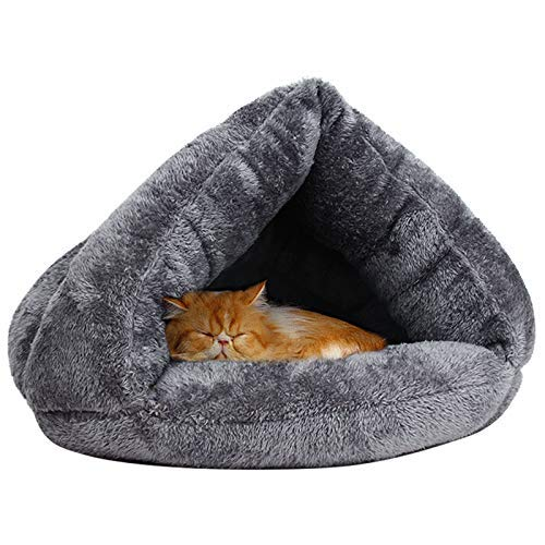 VOOPH 猫 ベッド ペット用寝袋 保温防寒 あったか 冬用 洗える ドーム型猫ハウス 小型犬 猫用 多機能2WAY ...