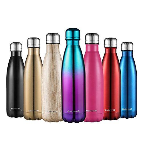 CMXING Bottiglia Acqua, 500ml/ 750ml Doppia Parete Acciaio Inox Sottovuoto Coibentato Bottiglia Termica, Sport Borracce Thermos (Blu e Rosa, 500ML)