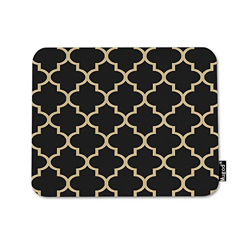Mugod Quatrefoil Mouse Pad Moroccan Clover Flower Lantern Shape Black and Gold Mouse Mat Non-Slip Rubber Base Mousepad for Computer Laptop PC Gaming Working Office & Home 9.5x7.9 Inch