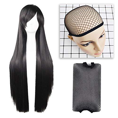 Frcolor 2pcs longues perruques de cosplay perruques droites noires pour les femmes enfants (1pcs postiche et 1pcs résille)