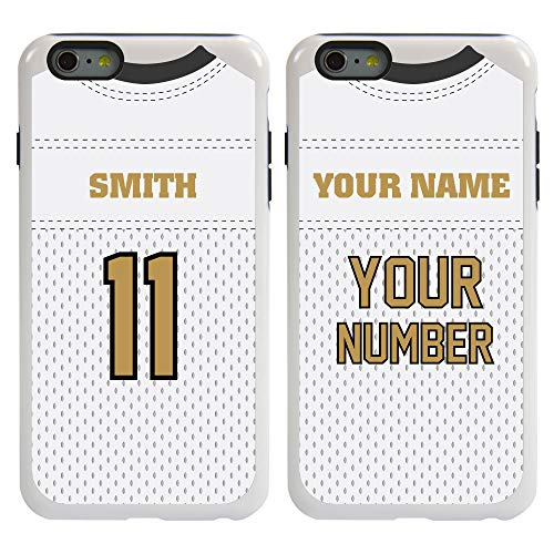 Custom Football Jersey Cases for iPhone 6 Plus / 6s Plus by Guard Dog – Personalized Sports – Your Name and Number on a Protective Hybrid Phone Case. (White/Black)