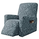 subrtex Stretch Rocking Recliner Silpcover Lazy Boy Chair Covers Non-silp for Leather and Fabric Sofa with Side Pocket (Grayish Green, Recliner)