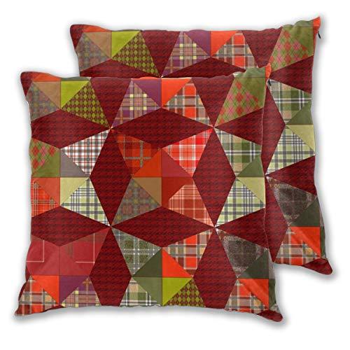 Juego de 2 fundas de cojín con diseño de caleidoscopio navideño con estrellas rojas y verdes, juego de 2 fundas de almohada cuadradas para sofá, silla, sofá o dormitorio, fundas de almohada decorativas