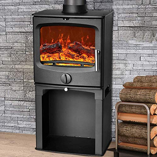 Durable Stove Fireplace Thick Steel Mass of The Solid Multi-Fuel Grate,Stove with Log Store
