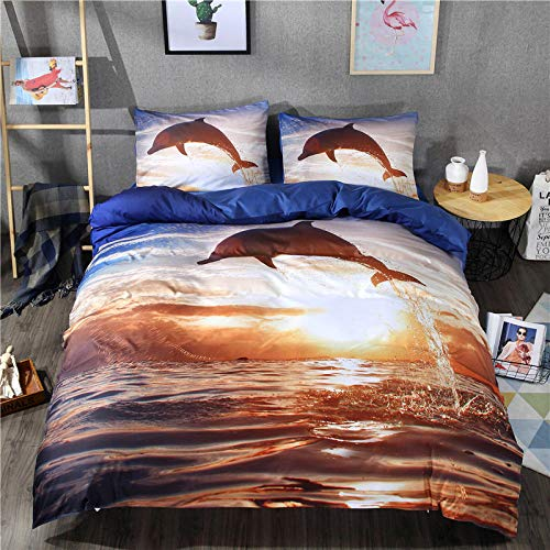 CC.Stars Comforter Sets for Queen Size Bed,Dolphin Panel Winter Luxury Soft Duvet Cover, 3Dh Dolphin Print Duvet Cover Bedding and Pillowcase-1_150210cm 2pcs