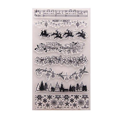 PINH - Sellos de Silicona para Manualidades de árbol de Navidad, para Scrapbooking, álbum de Fotos, Tarjetas, Manualidades, Navidad, Regalos de Acción de Gracias, Transparente