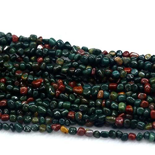 LKBEADS 1 hebra natural verde rojo India piedra sangre Jasper Nugget cuentas sueltas forma libre pequenas cuentas tamano: 3 x 5 mm 15 pulgadas de largo 03952 Code-HIGH-29923