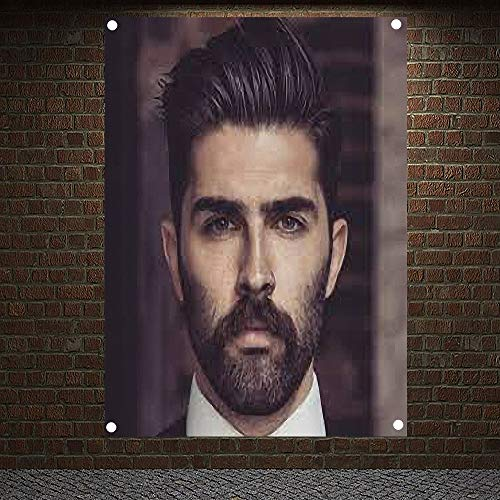 Classic Pompadour Men's Beard Hairstyle Barber Shop Decor Wall Chart Flag Canvas Painting 96x144 cm (38X57 inches) D4