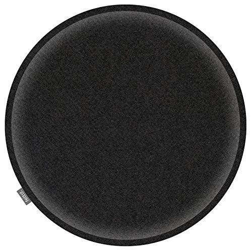 Feltd. Eco Filz Auflage Ø 40cm Kissen rund universal Sitzauflage - 30 Farben - optional inkl. Antirutsch und gepolstert (schwarz)