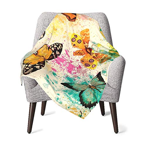 Baby Double Blanket Baby Quilt Boho Butterflies Decor Watercolors Murk Grungy With Color Splashes Be Mindful Bohemian Artsy Print Bed Art Multi Baby Blanket,Baby Comfort Blanket