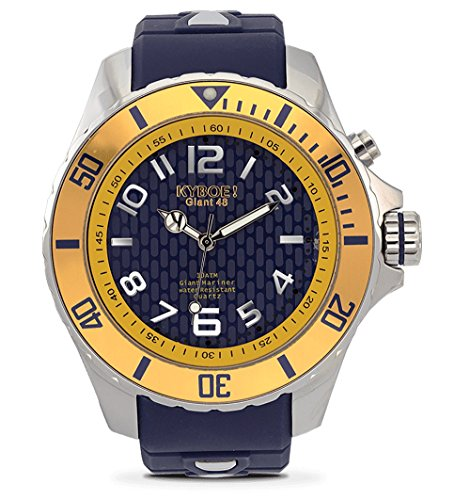 KYBOE! Reloj de cuarzo de acero inoxidable y silicona (modelo: Marine Anchor)