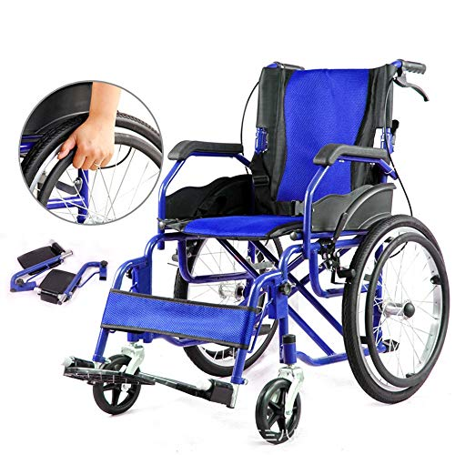 QiHaoHeji Transport Chair Wheelchair Folding Portable Small Wheel Portable Trolley Travel Elderly Children (Color : Blue, Size : ONE SIZE)