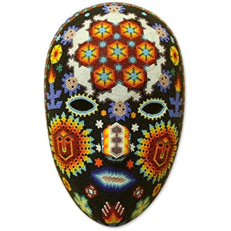 Amazon Com Novica Decorative Huichol Beaded Papier Mache Mask Multicolor Jicuri Dance Home Kitchen