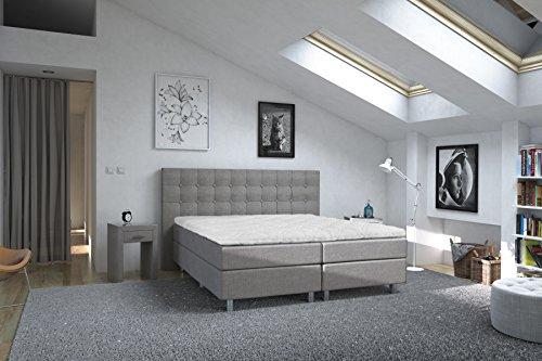 Cubera Empire Boxspringbett, Stoff, Delfingrau, 200 x 200 cm
