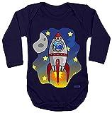 Hariz Baby Body manga larga cohete en el espacio del globo astronauta estrella del espacio Plus tarjetas de regalo marinero azul oscuro 86 – 92
