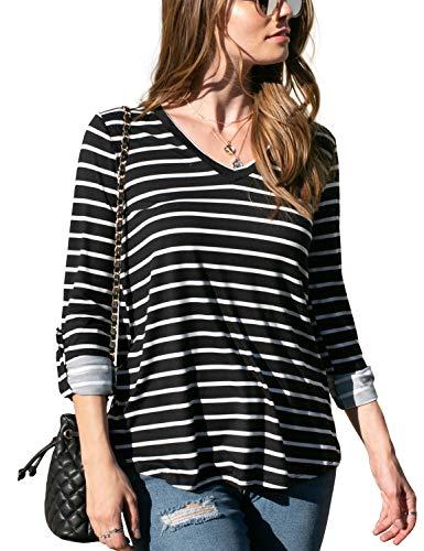 Doublju Women's Long Sleeve Banded V-Neck Top with Plus Size BLACKWHITEST 1X