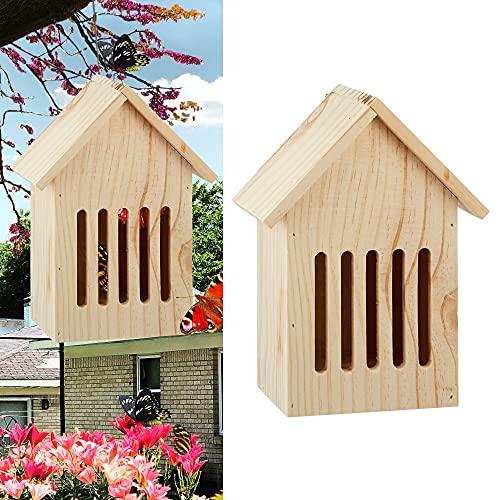 Cepewa Schmetterlingshotel Butterfly aus Holz Metallaufhänger │Insektenschutz für Schmetterlinge│Insektenhaus 17 cm x 23 cm Gartendekoration (1 x...