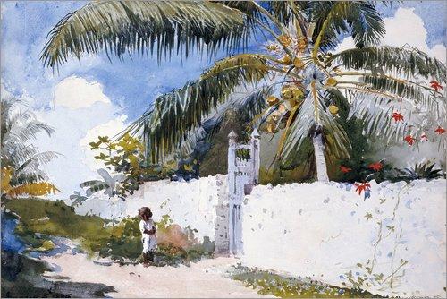 Posterlounge Leinwandbild 100 x 70 cm: EIN Garten in Nassau von Winslow Homer/Bridgeman Images - fertiges Wandbild, Bild auf Keilrahmen, Fertigbild auf echter Leinwand, Leinwanddruck