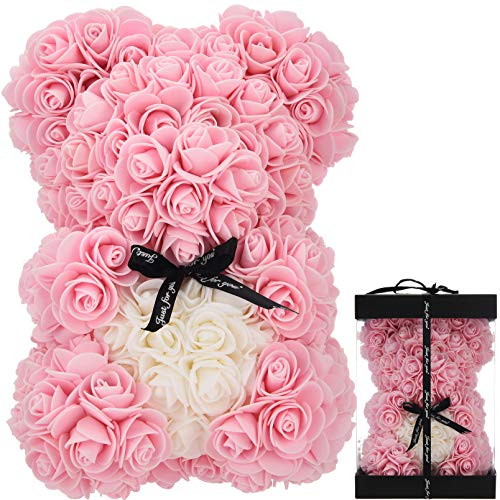 Oso de Rosas Flores Artificiales Peluche Oso - Regalos Originales para Mujer Regalo Mujer Novias Regalo Madres Regalos Mujeres Rosas Artificiales Aniversario cumpleaños de San Valentín (Rosa Claro)