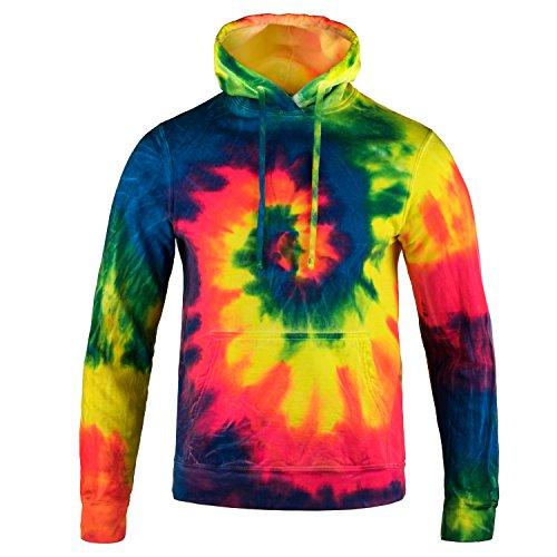 Magic River Tie Dye Hooded Sweatshirt - Neon Rainbow - Adult Medium Hoodie