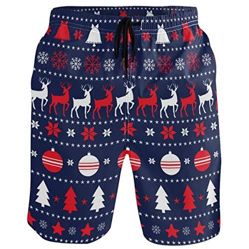 visesunny Merry Christmas Decorative Reindeer Men's Beach Short Swim Trunks Sports Running Bathing Suits with Mesh Lining