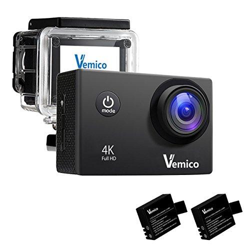 Vemico, videocamera d'azione sportiva 4K, per casco, WiFi, impermeabile, Full HD, 1080p, 5,1cm, 16MP, videocamera grandangolare 170gradi DVR con 2batterie ricaricabili