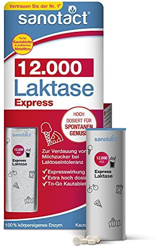 sanotact Laktase 12.000 EXPRESS • 40 Laktose Tabletten mit Sofortwirkung + extra hochdosiert • Lactosetabletten bei Laktoseintoleranz + Milchunverträglichkeit