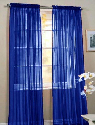 "Empire Home Fashion Elegance One Panel Sheer Window Curtain Drape 84"" Long Rod Pocket Solid (Royal)"