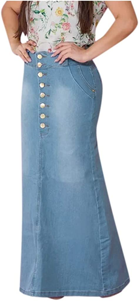 Women's Casual Front Button Washed Denim A-Line Skirts Long Jean Skirt with Side Pockets
