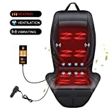 SEG Direct 3-in-1 Car Smart Seat Cushion, Heating for Winter, Ventilation for Summer, Vibrating for Driving, Universal 12V Output Voltage Adapter with 5 Adjustable Levels of Ventilation and Heating