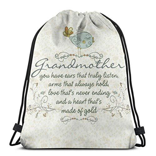 OPLKJ Kordelzug Rucksack Tasche, Großmutter Gedicht mit Birds Gym Bag Tragbare Sackpack Aufbewahrungstasche für Camping Wandern Schwimmen Einkaufen Wandern Travel Beach