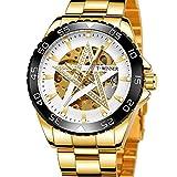 Excellent Reloj para Hombre Reloj mecánico de Estrella de Cinco Puntas automáticas para Hombres Reloj de Pulsera Casual con Manos Luminosas dial Redondo 3atm 30 Metros Impermeable,C03