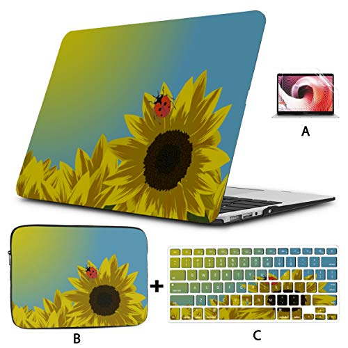 MacBook Case 13 Inch Sunflower Ladybird Cute 13 Inch Laptop Case Hard Shell Mac Air 11'/13' Pro 13'/15'/16' with Notebook Sleeve Bag for MacBook 2008-2020 Version