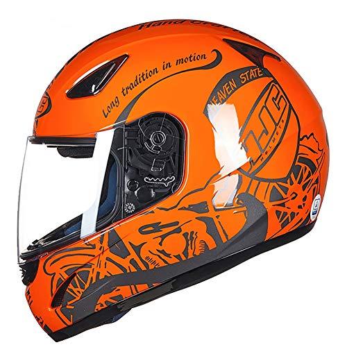 Casco de Moto de Carreras de Cara Completa para Todas Las Estaciones, Casco Universal para Hombres y Mujeres, Casco de Coche antivaho, Naranja, Large