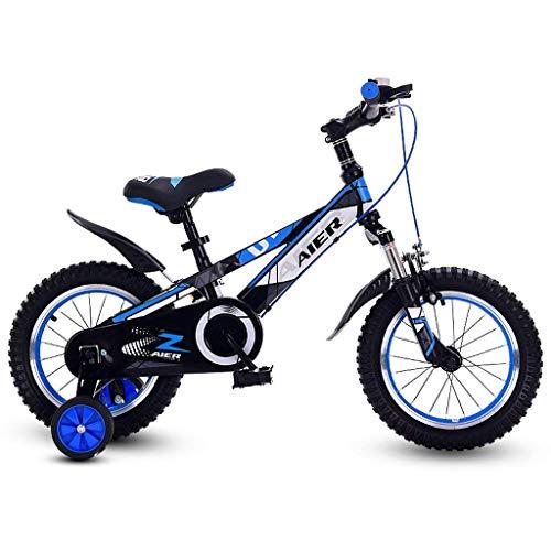 ZYC-WF Bicicletas Niños, Bicicletas Niños Hijos de Bicicletas 12/14/16 Pulgadas con Amortiguador de Masculino Y Femenino Bicicleta de Los Niños 2-8 Bici Del Bebé Azul,Azul 16 Pulgadas,Azul 16 Pulgada
