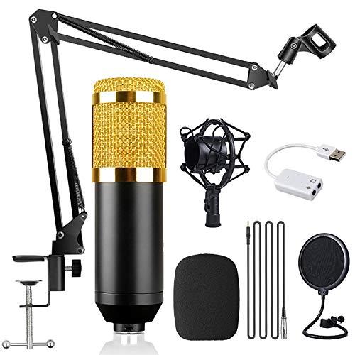 micro enregistrement studio, Microphone à condensateur, kit BM-800, avec suspension de réglable Bras de ciseaux/support de choc araignée, pour les jeux, le podcasting, la voix off. (Golden)